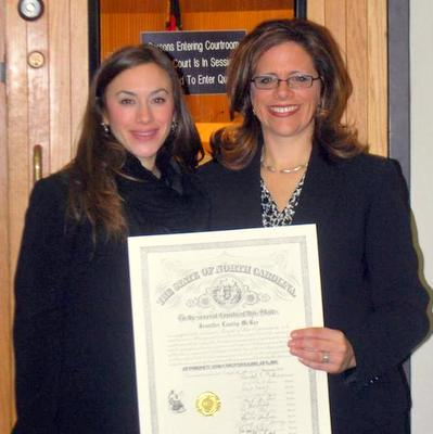 MSJDN Vice President Rachel Winkler and member Jennifer McBee at McBee's swearing in ceremony on Jan. 9.