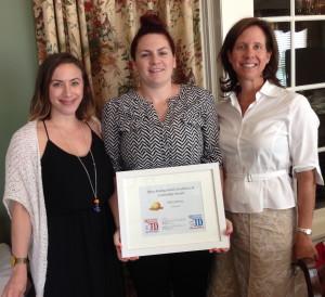 Rachel Winkler. Libby Jamison & Eleanor Vuono following the award presentation