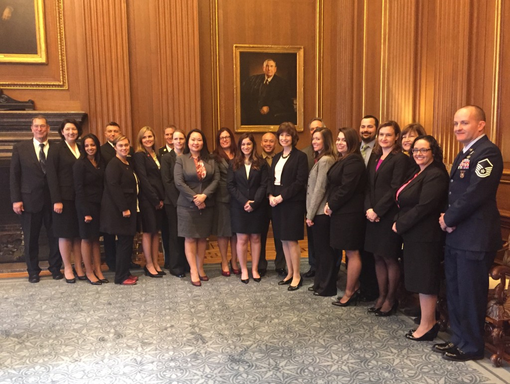 Judge Millett with military spouse attorneys being admitted to the Supreme Court Bar, and their friends family.